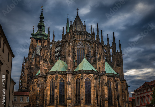 Tuinposter Praag Rear view of the gothic Saint Vitus Cathedral in Prague during a cloudy dusk
