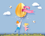 Happy Easter card with kids, flowers and egg air balloon on blue sky background. Vector illustration. Paper cut and craft style.