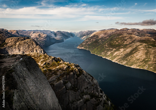 Aluminium Zwart View from Preikestolen rock in Norway