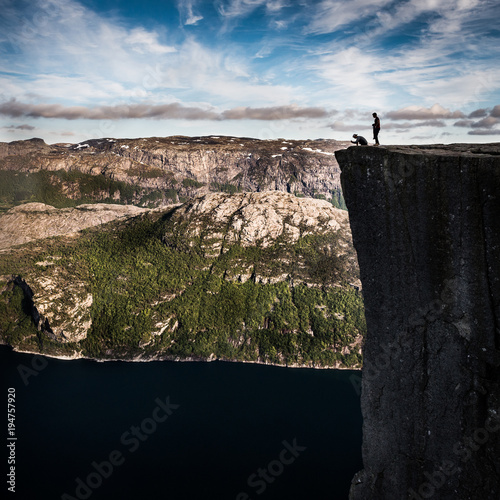 Foto op Canvas Zwart View from Preikestolen rock in Norway