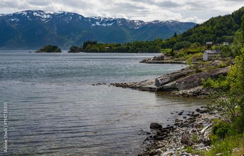 Fotobehang Donkergrijs Along Gaularfjellet scenic route