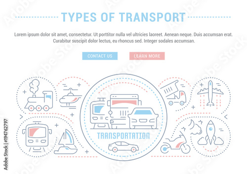 Website Banner and Landing Page of Types of Transport.