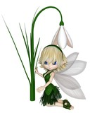 Cute Toon Blonde Snowdrop Fairy In A Green Leafy Dress Kneeling By A Spring Snowdrop Flower 3d Digitally Rendered Illustration Wall Sticker