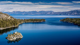 Lake Tahoe West shore view including Fannette Island in the winter of 2018 - 194777305