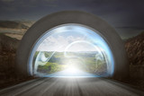 Virtual door on gateway arch to entrance mountains landscape - 194786596