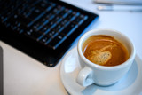 coffee on tesk with computer keyboard - 194796906