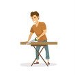 cute cheerful man cutting wooden plank with a saw, isolated vector illustration