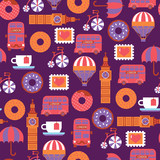 London childish cartoon vector pattern with donuts - 194803111