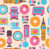 London tea time childish cartoon vector pattern with donuts - 194803123