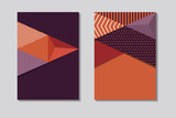 set of abstract geometric vector cover backgrounds - 194803130