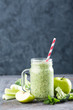 green smoothie with celery, broccoli, apple. healthy diet eating, superfood