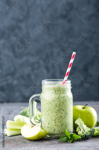 Fototapeta green smoothie with celery, broccoli, apple. healthy diet eating, superfood