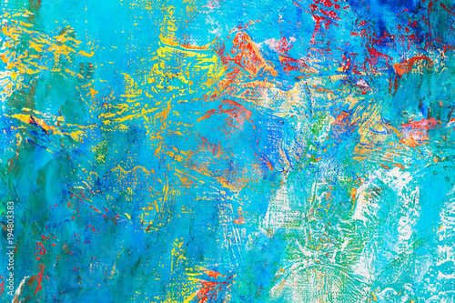 hand painted artistic background with bright vibrant blue colors