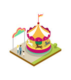 Kids carousel isometric 3D element. Amusement park architecture and entertainment, family rest vector illustration.