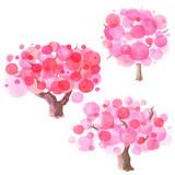 Hand drawn watercolor cartoon sakura tree consisting of circles set.