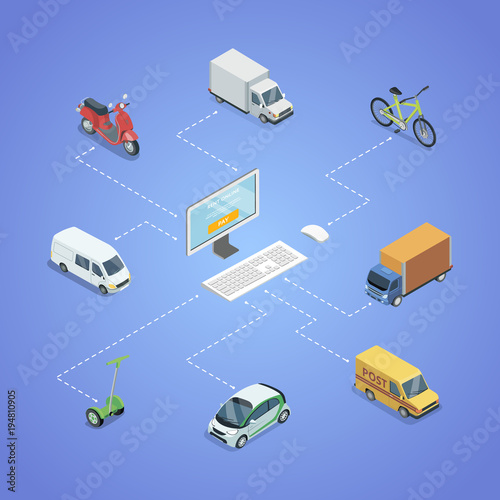 Fototapeta City transport logistics isometric infographics. Freight truck, delivery van, bicycle, scooter, small city car vector illustration. Modern urban and countryside traffic, infrastructure transportation.