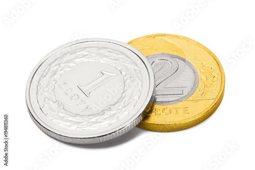 Zamknij się strzelać z dwóch monet reprezentujących polski walucie krajowej - złoty