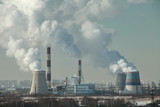 smog over  city of smoking chimneys - 194813530