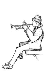 Sketch of a trumpet player © Isaxar