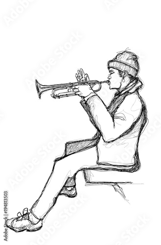 Sketch of a trumpet player