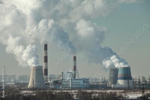 Poster smog over  city of smoking chimneys