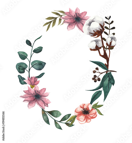Wreath of flowers and leaves. Watercolor illustration on white isolated background. Floral frame for text. Cotton flowers, eucalyptus leaves
