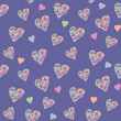 Violet Seamless Pattern with Hearts
