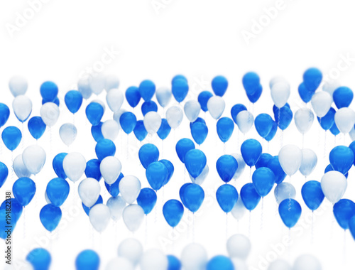Blue and white celebration balloons isolated on white background