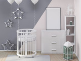 Round crid in child room with poster mockup 3d rendering - 194824969