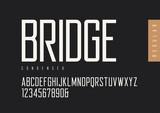 Condensed regular retro sans serif. Vector typefaces, uppercase  - 194825788