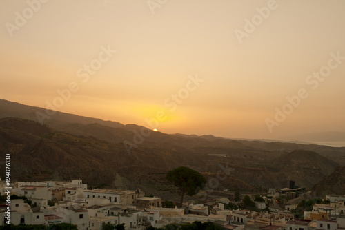 In de dag Ochtendgloren Desert sunrise in Andalucian village.