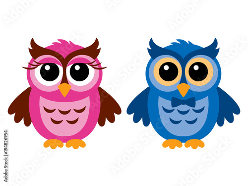 Foto op Canvas Uilen cartoon Funny owls, girl and boy, vector illustration, isolated on white.