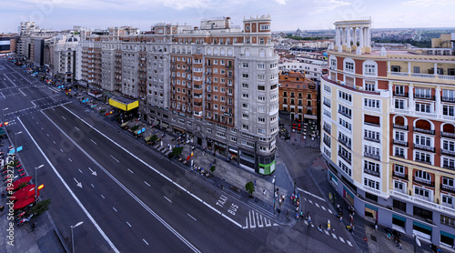 Papiers peints Madrid Panoramic view of the Gran Via of Madrid. Spain