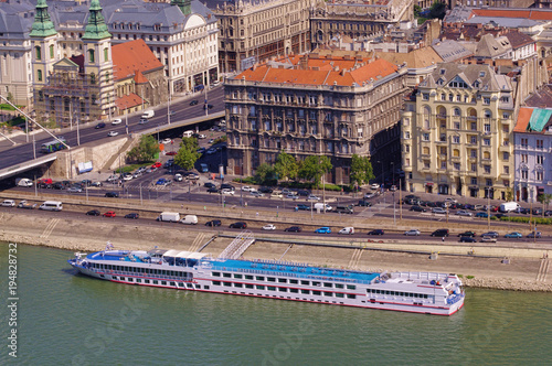 Aluminium Boedapest cruise ship in Budapest city, capital of Hungary