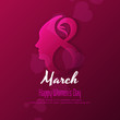 Abstract Happy Women's Day purple background design - 194830310