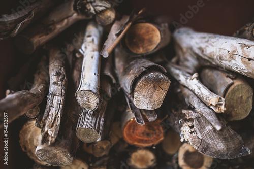 Foto op Canvas Brandhout textuur stack of firewood, wooden texture