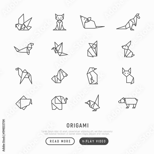 Pleasing Origami Thin Line Icons Set Penguin Camel Fox Bear Sparrow Wiring 101 Olytiaxxcnl