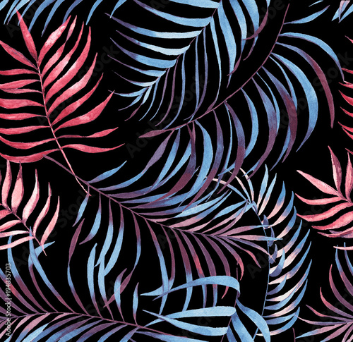 Hand drawn colorful seamless pattern with watercolor palm leaves. Exotic plants. Summer repeated background - 194835703