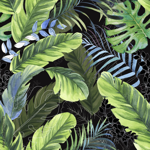 Hand drawn colorful seamless pattern with watercolor palm leaves, exotic plants and banana leaves. Summer repeated background - 194835722