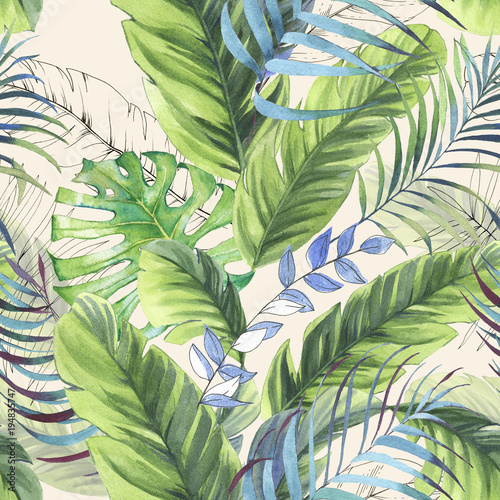 Hand drawn colorful seamless pattern with watercolor palm leaves, exotic plants and banana leaves. Summer repeated background - 194835747