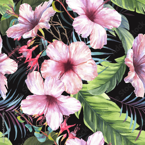 Hand drawn colorful seamless pattern with watercolor palm leaves, exotic plants, fuchsia flowers and hibiscus flowers. Summer repeated background - 194835766