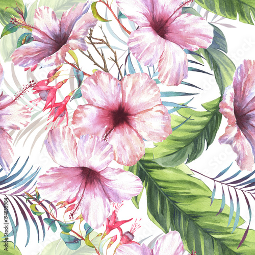 Hand drawn colorful seamless pattern with watercolor palm leaves, exotic plants, fuchsia flowers and hibiscus flowers. Summer repeated background - 194835984