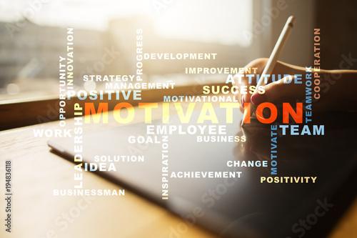 Fototapeta Motivation concept on the virtual screen. Words cloud.