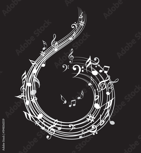 Fototapeta Music note background with music symbol icon collection