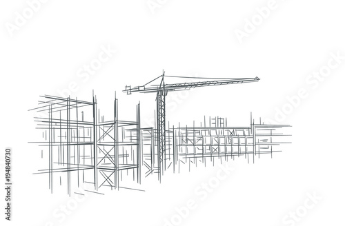 Construction site line sketch, hand drawn, vector. - 194840730