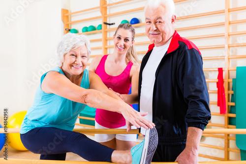 Aluminium Fitness Senior at rehab in physical therapy having rehabilitation session