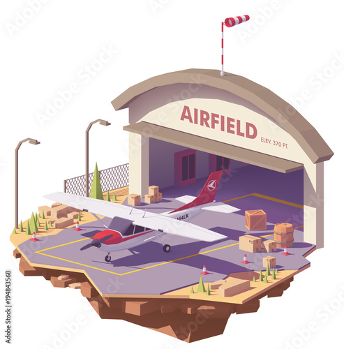 Vector low poly airfield with hangar and airplane