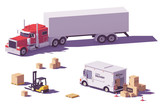 Low Poly Trucks And Forklift Wall Sticker