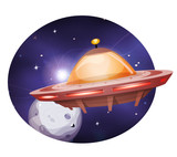 Alien Spaceship Traveling On Space Background
