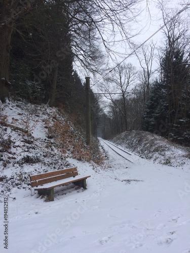 Bank und Gleise im Wald bei Schnee